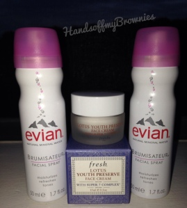 Evian Mineral Spray and Fresh Lotus Youth Preserve Face Cream With Super 7 Complex
